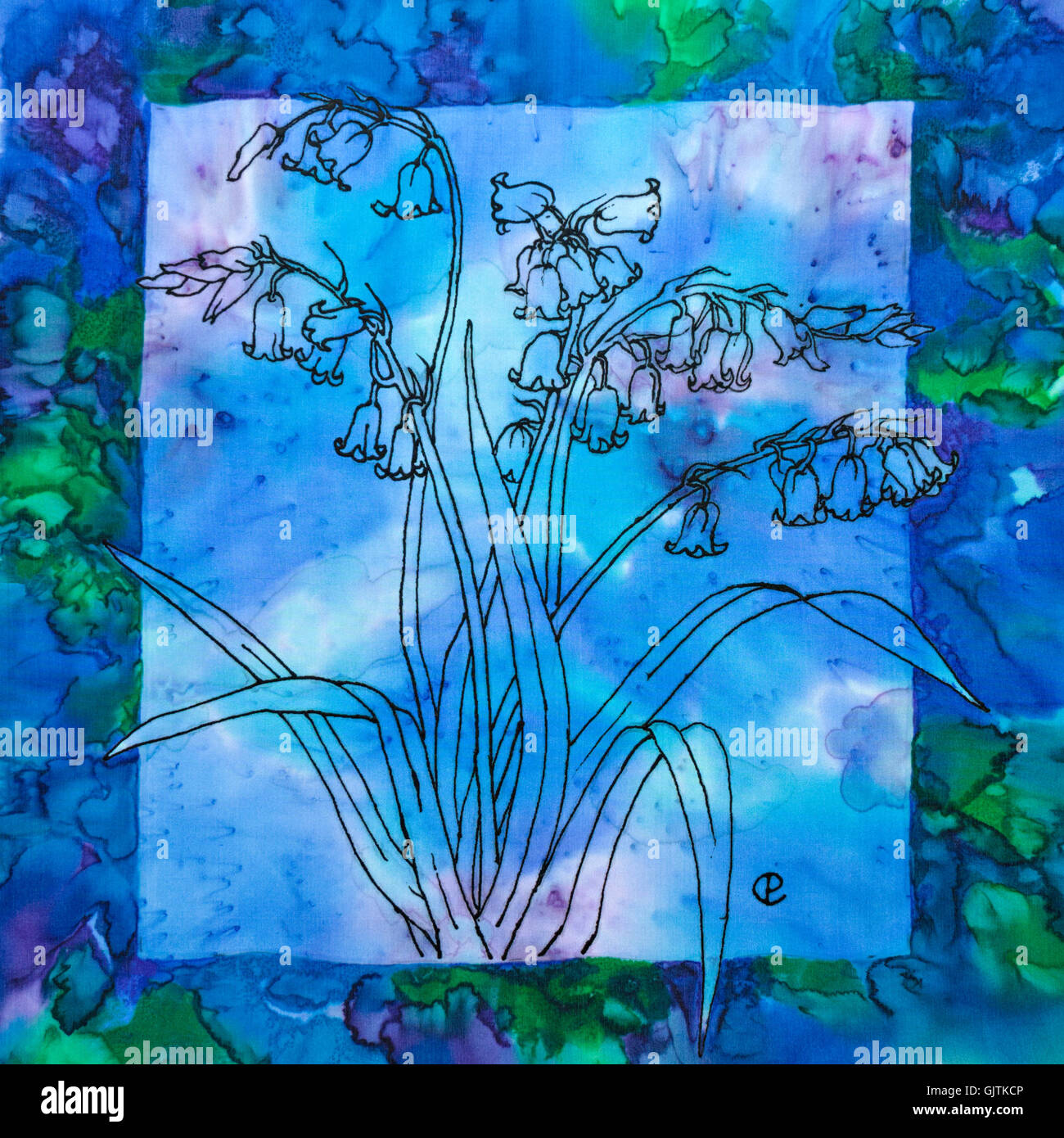 Photograph of silk painting of bluebell flowers against blue and photograph of silk painting of bluebell flowers against blue and green background using steam fixed dyes by paula chapman mightylinksfo