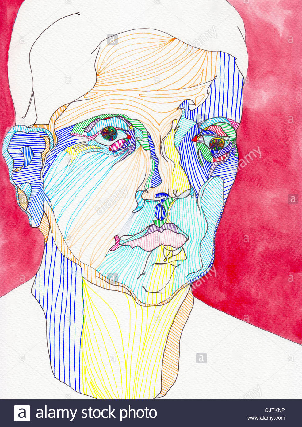 Multicolored line drawing portrait of serious man - Stock Image