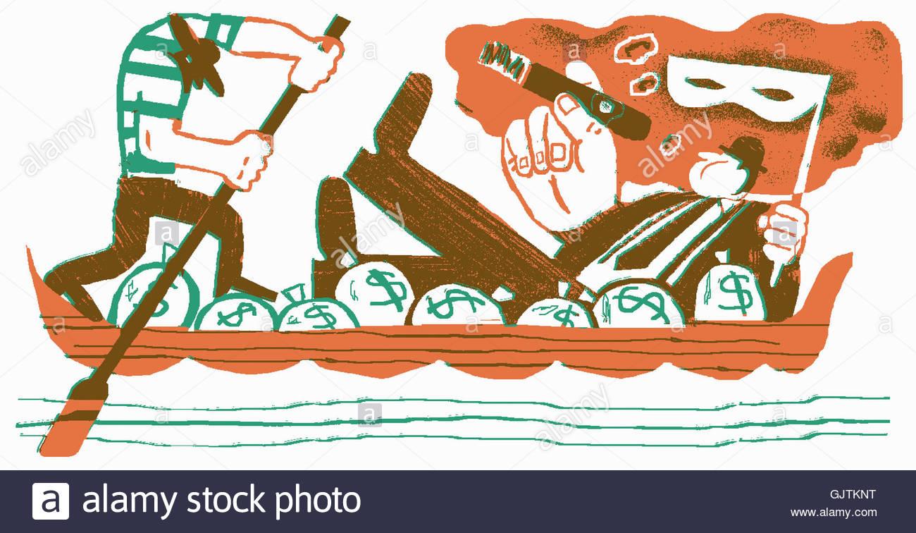 Arrogant businessman smoking cigar in gondola with lots of money bags - Stock Image
