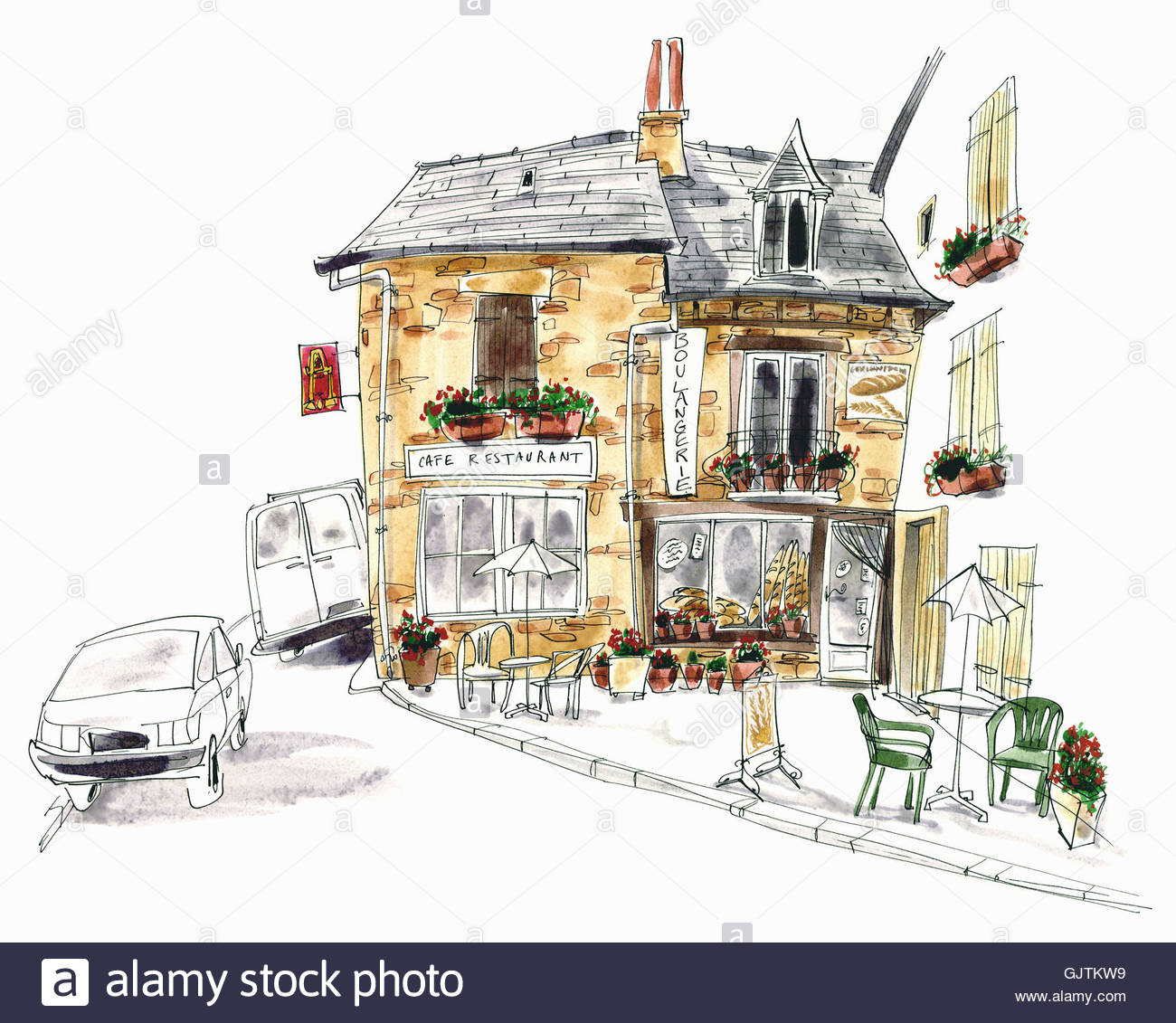 Pavement cafe and boulangerie, france - Stock Image