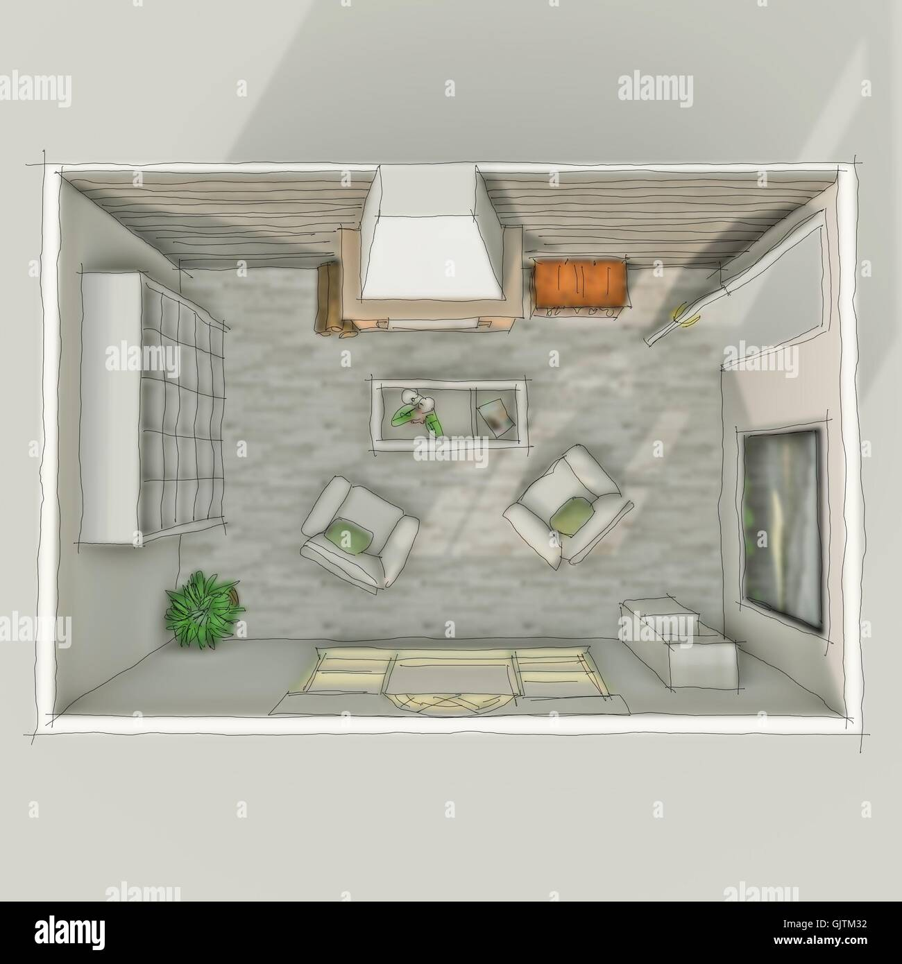 3D Freehand Sketch Drawing Of Interior Roofless Living Room With Fireplace