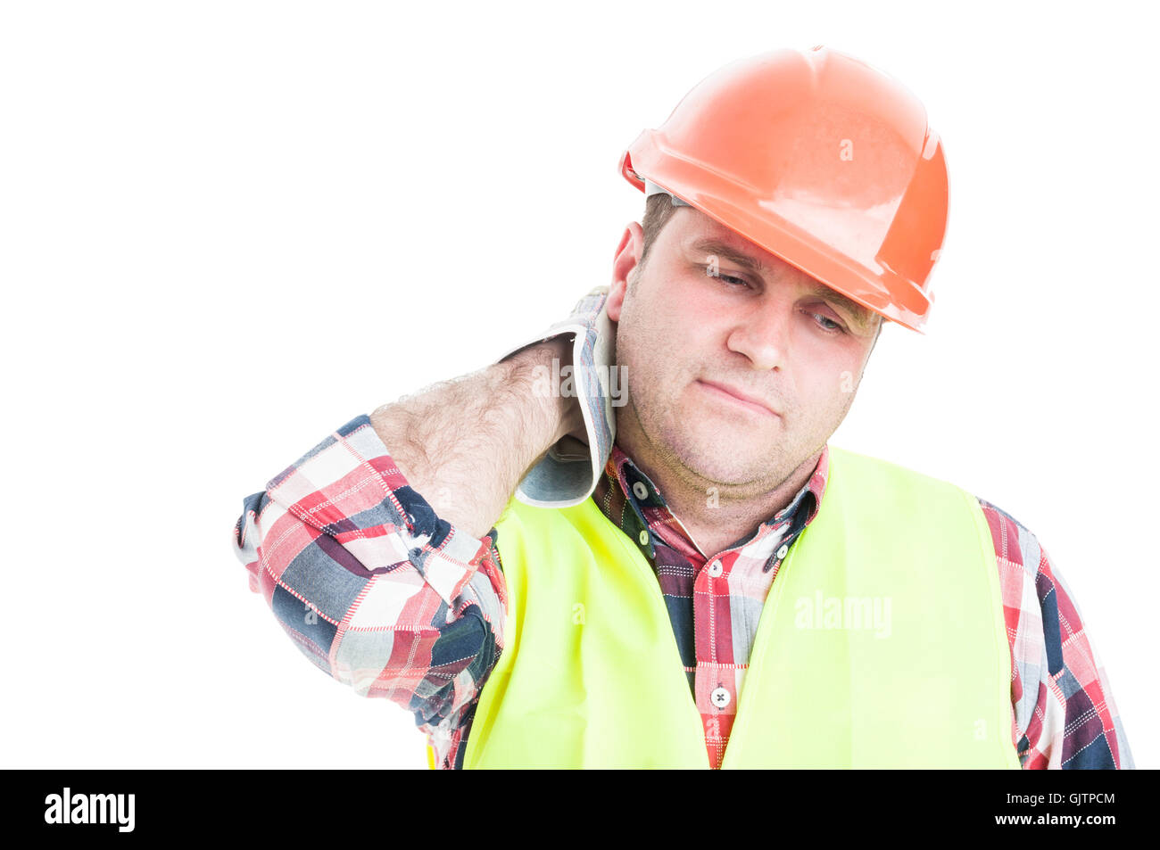 Construction worker looking tired or tense and having neck pain isolated on white studio background - Stock Image