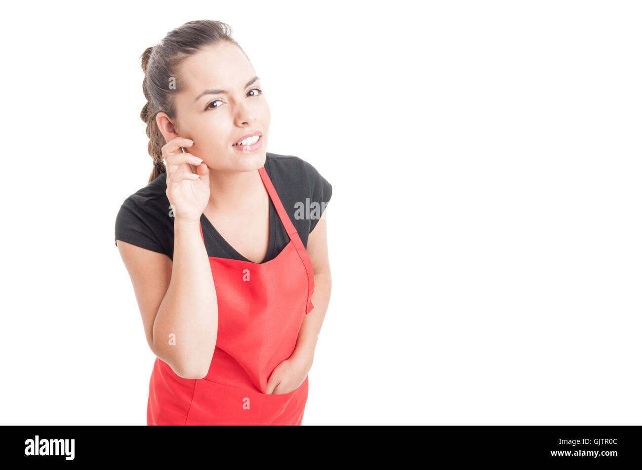 Curious woman employee listening whisper or gossip isolated on white background with copy space area - Stock Image