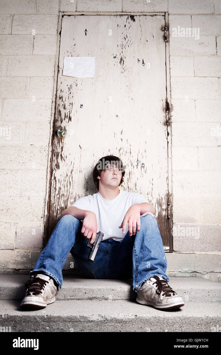 teen youth crime - Stock Image