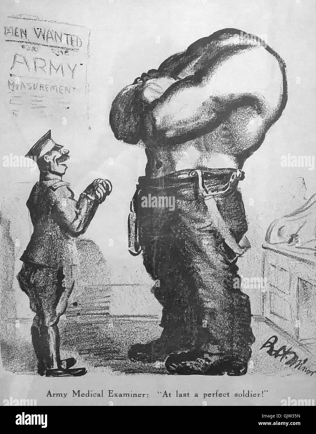 """""""At last a perfect soldier!"""" cartoon by Robert Minor published on the cover of 'The Masses' July 1916 Stock Photo"""