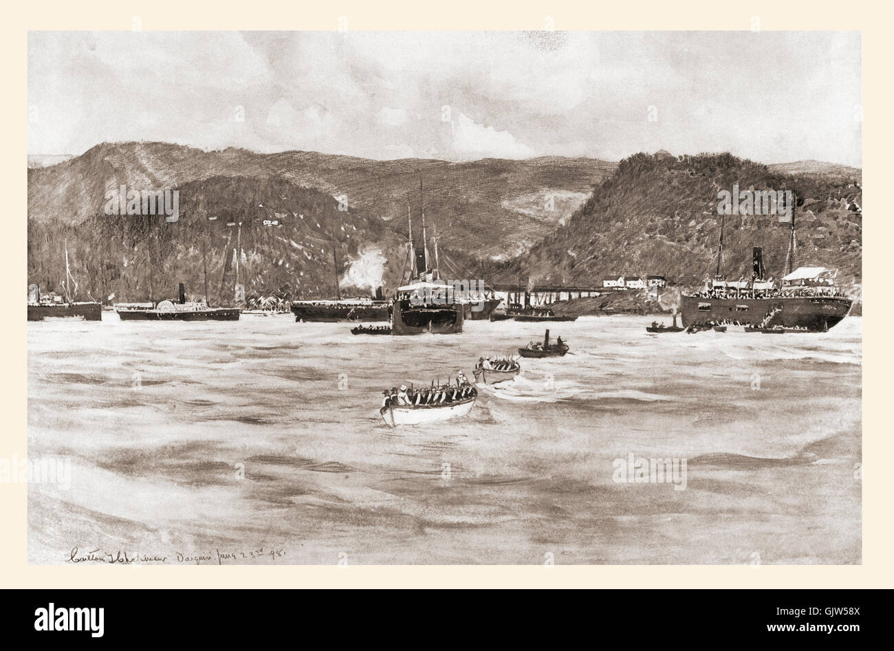 The landing of the Fifth Army Corps under General William R. Shafter at Daiquirí, Cuba, June 22 to 24, 1898 - Stock Image