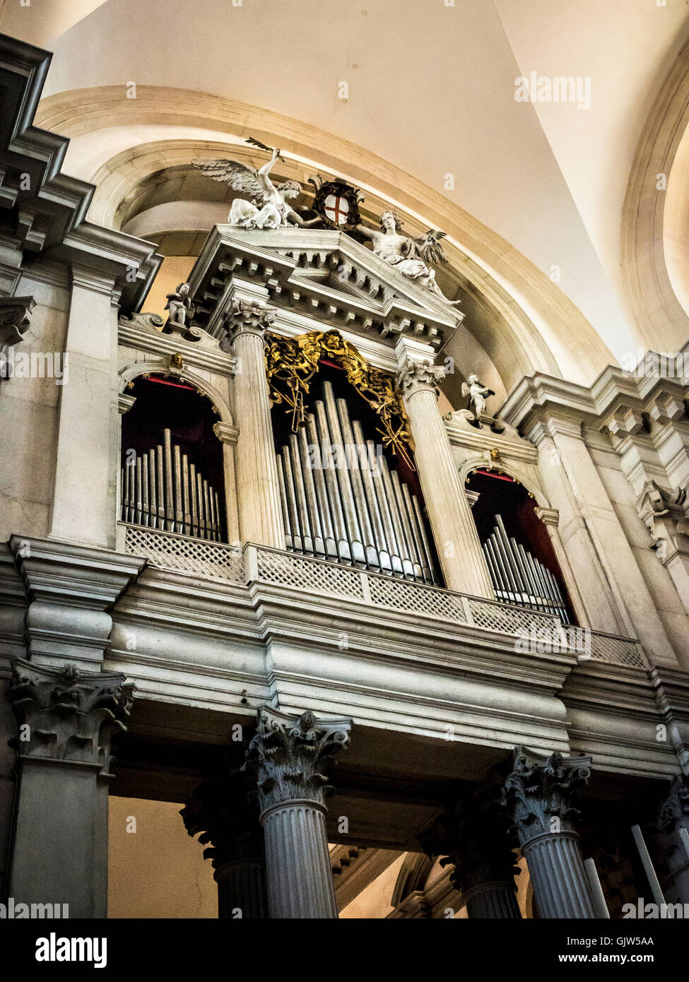 The organ loft in the church of San Giorgio Maggiore, Venice, Italy. - Stock Image