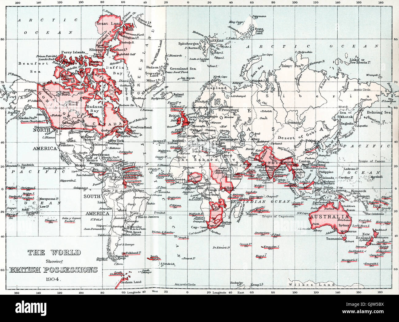 Map of the world showing British possessions in 1904. - Stock Image