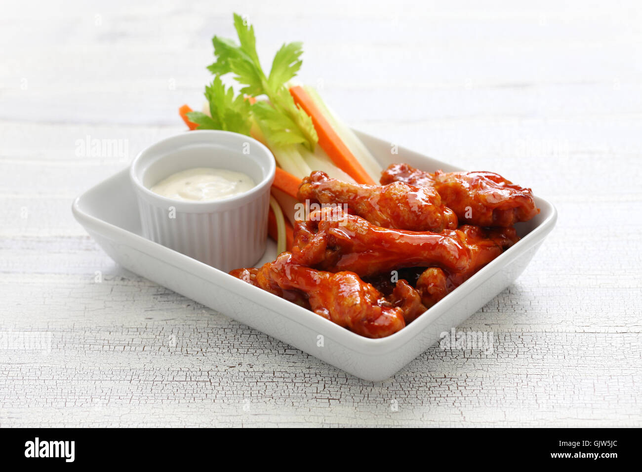 buffalo chicken wings, american food - Stock Image