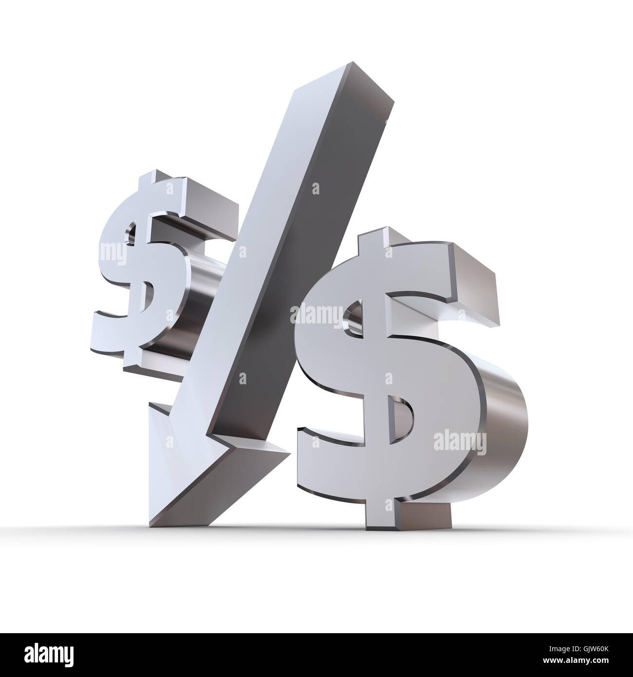 dollar dollars down - Stock Image