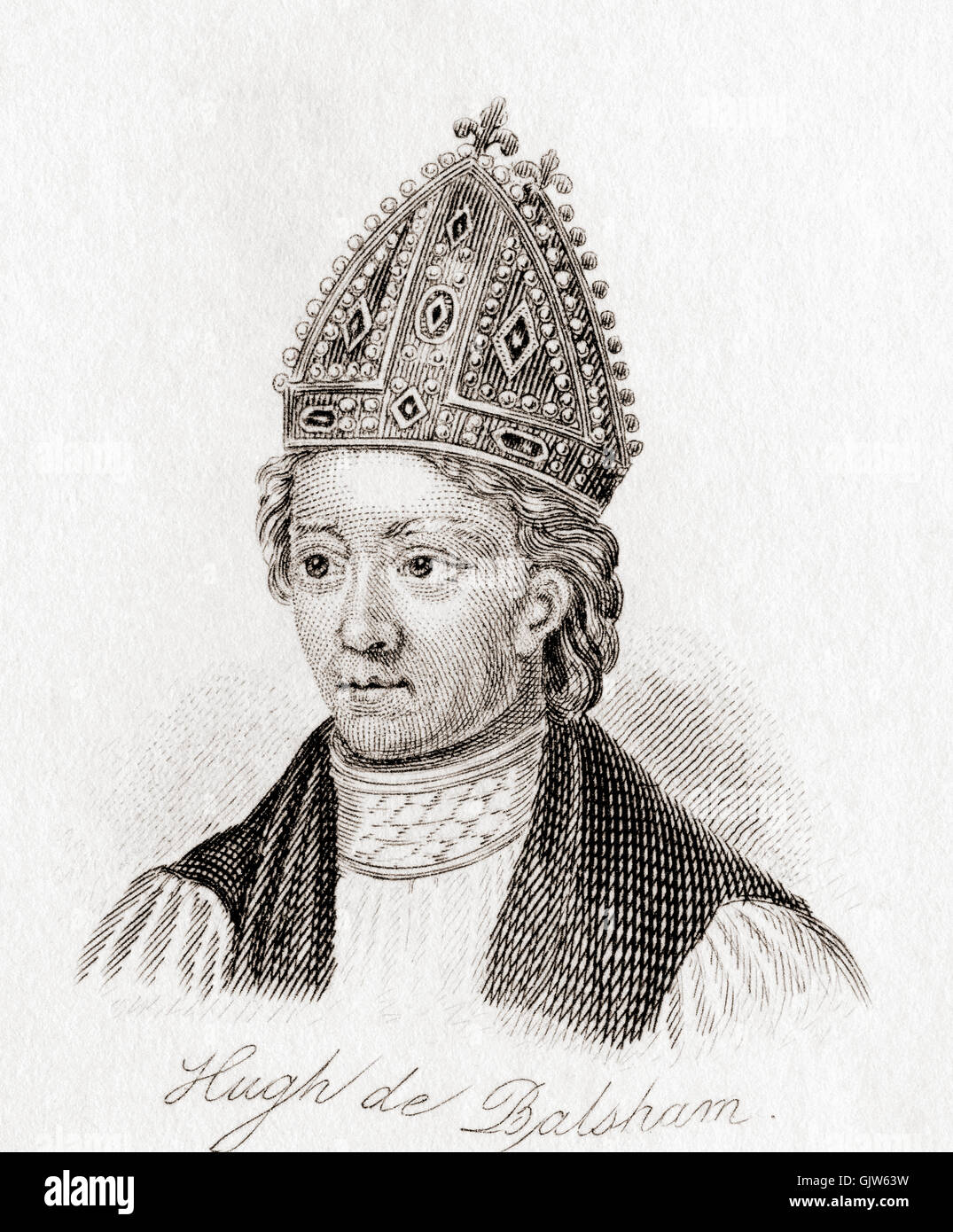 Hugh  or Hugo de Balsham; died 16 June 1286.  Medieval English bishop. Stock Photo