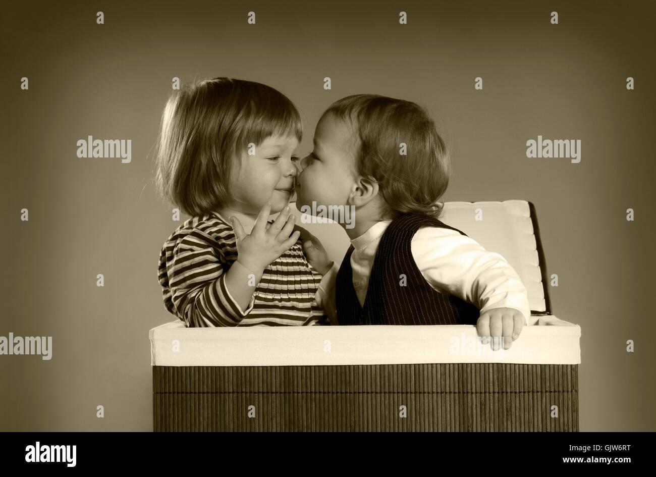 romantic endearing kiss - Stock Image