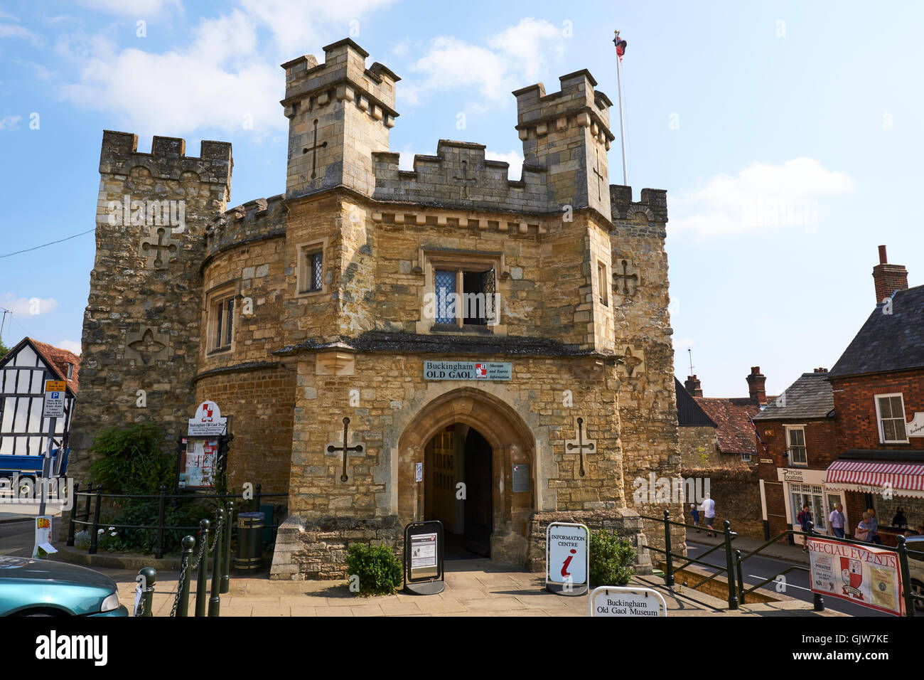 Old County Gaol Built In 1748 Now The Museum Market Hill Buckingham Buckinghamshire UK - Stock Image