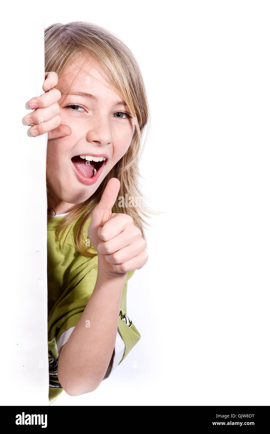 boy with sign wd542 - Stock Image