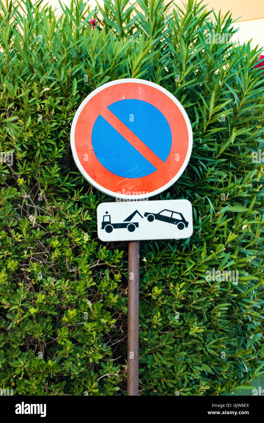 no waiting sign in Antibes France - Stock Image