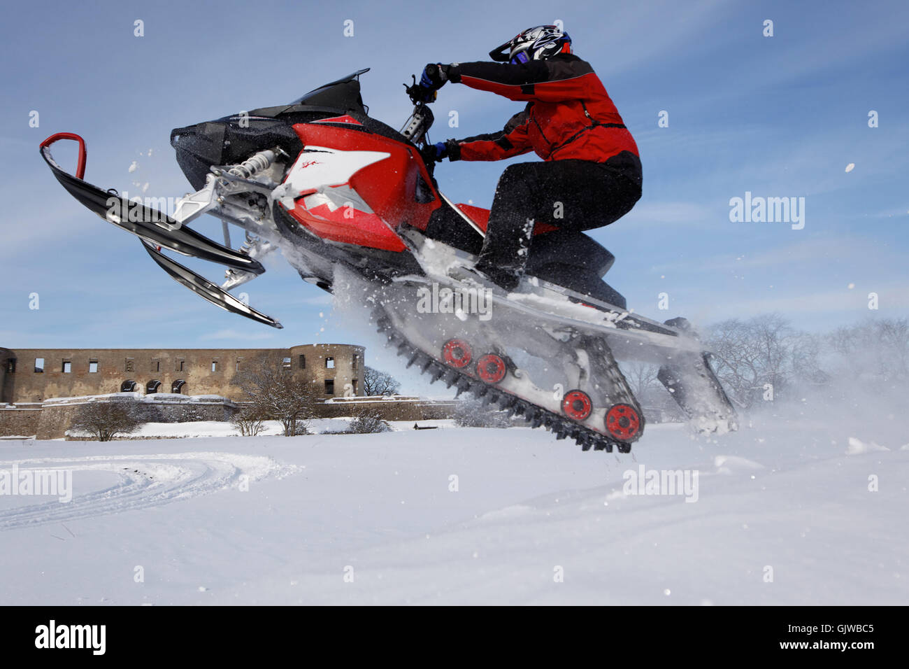 snowmobile in jump - Stock Image
