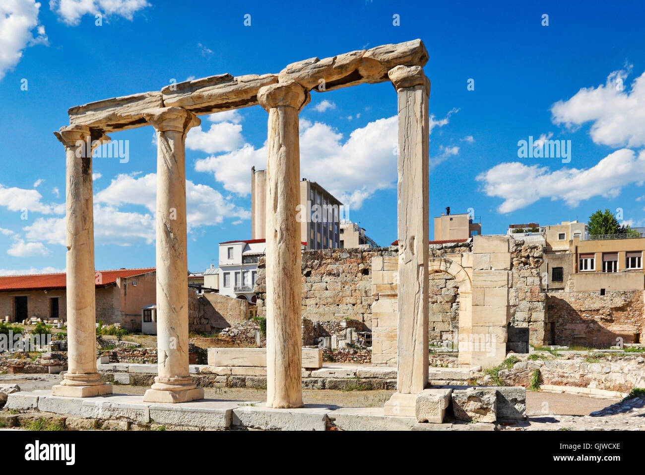 Tetraconch church Megali Panagia (5th cent. A.D.) in the yard of Adrianos Library in the Roman Agora of Athens, - Stock Image