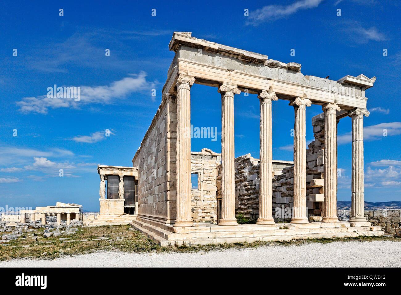 The Erechtheion (421 B.C.) on the Athenian Acropolis, Greece - Stock Image