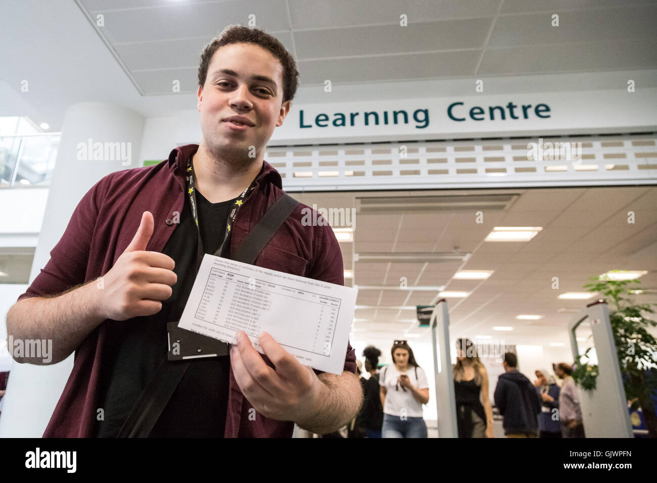 London, UK. 18th August, 2016. Nial Francis, 19, with his exam results. Students collect A Level results at Westminster - Stock Image