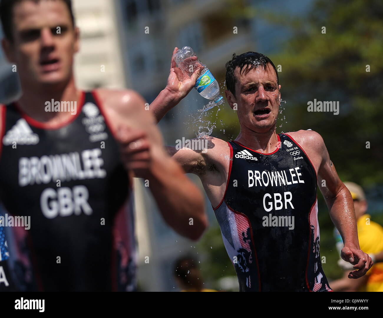 Rio De Janeiro, Brazil. 18th Aug, 2016. Jonathan Brownlee (L) and Alistair Brownlee of the United Kingdom compete - Stock Image