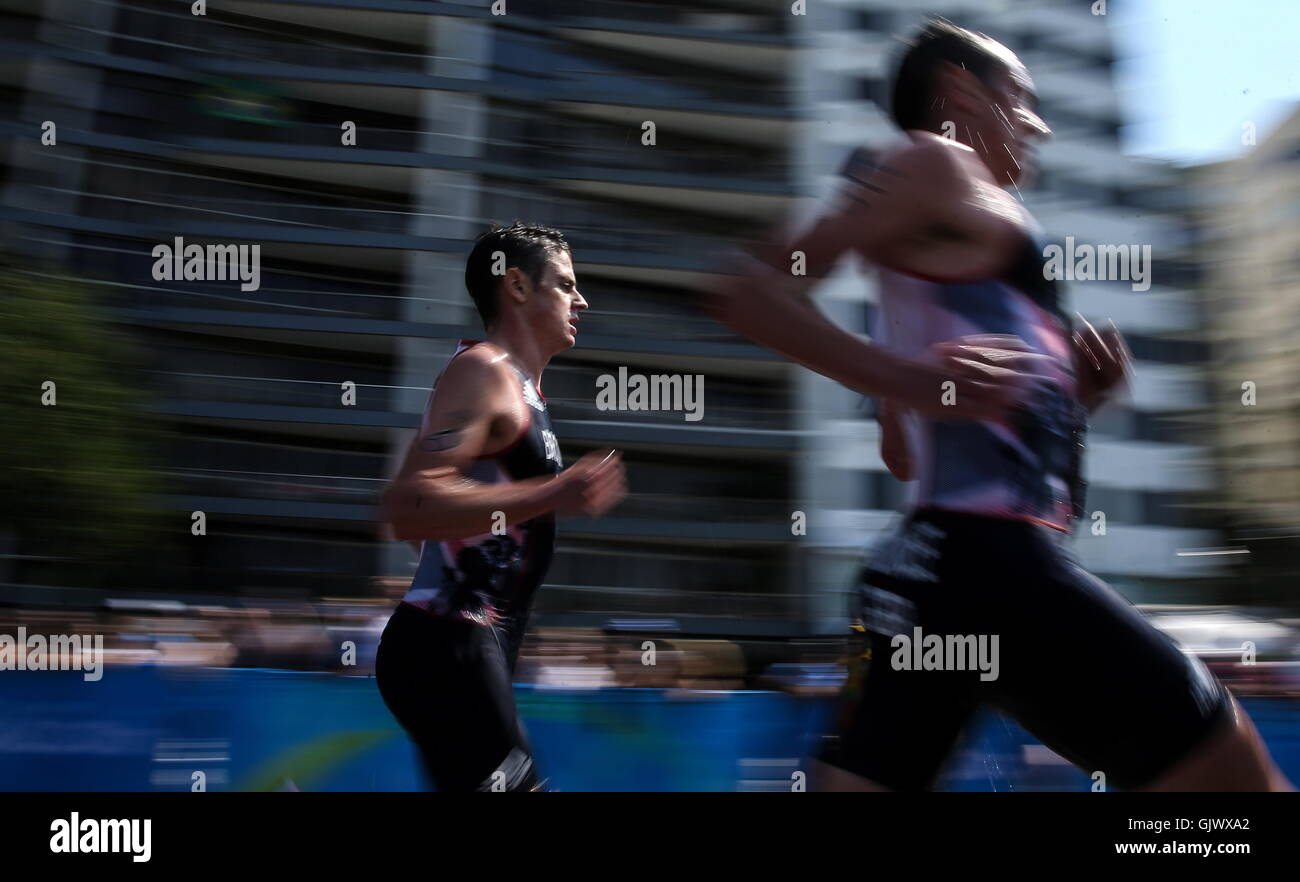 Rio De Janeiro, Brazil. 18th Aug, 2016. Athletes compete in the running leg of the men's triathlon at the Rio - Stock Image