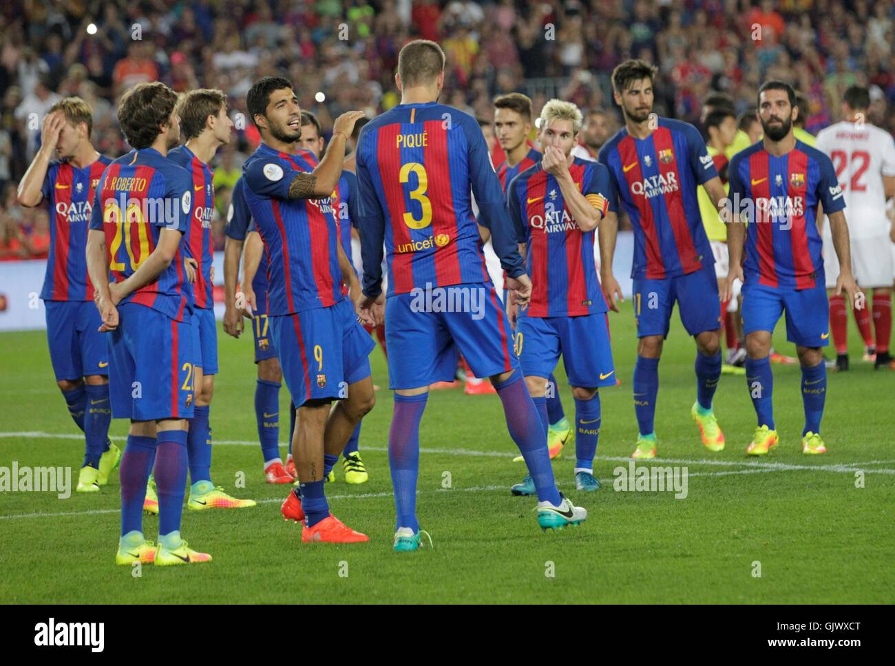 Barcelona, Spain. August 17, 2016. Barcelona won the Super Cup of Spain during the match LFC Barcelona - Sevilla - Stock Image