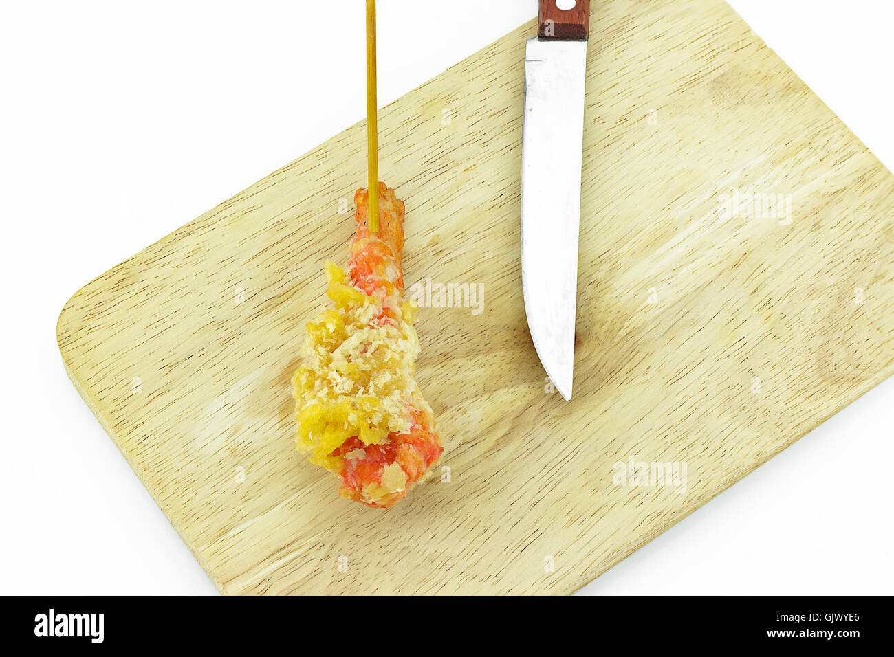 Tempura shrimp skewer species - Stock Image