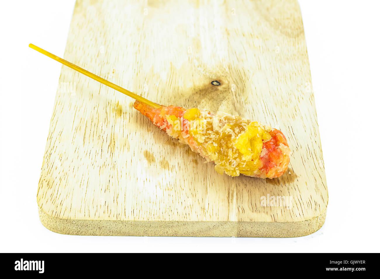 Tempura shrimp skewer species Stock Photo