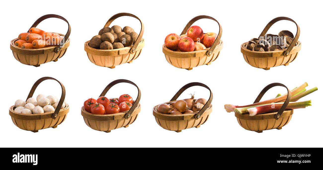 isolated basket fruit Stock Photo