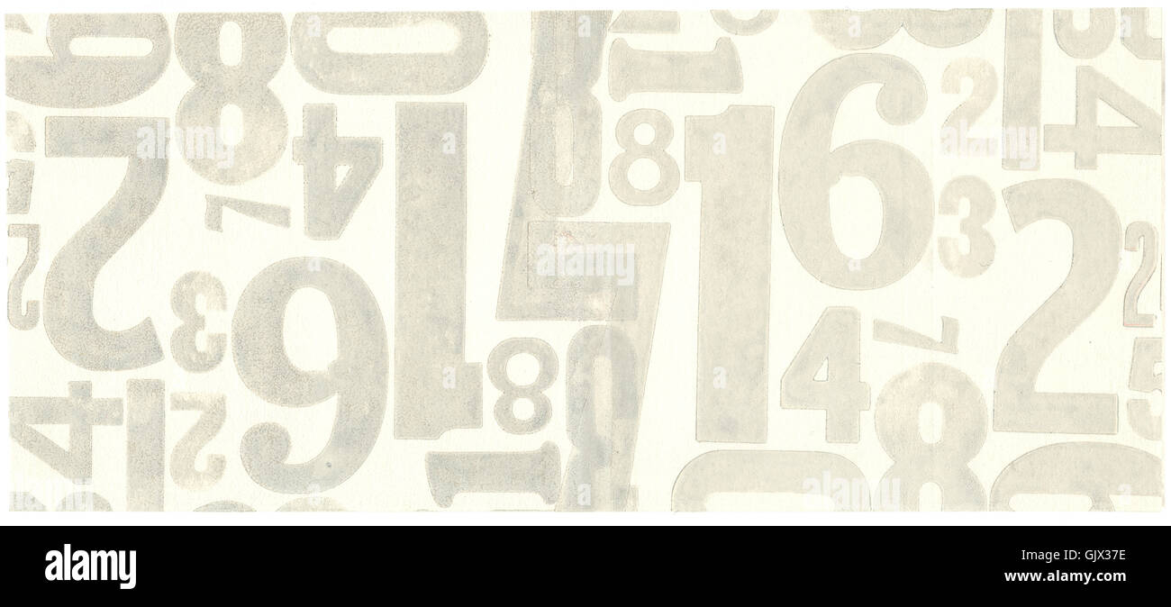 metal type poster font numbers background - Stock Image