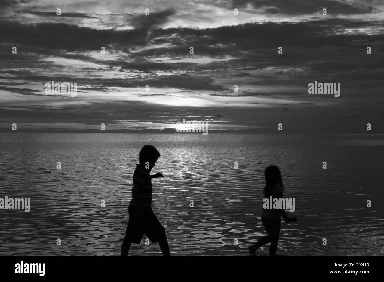 A beautiful sunset on a beach in Florida. Stock Photo