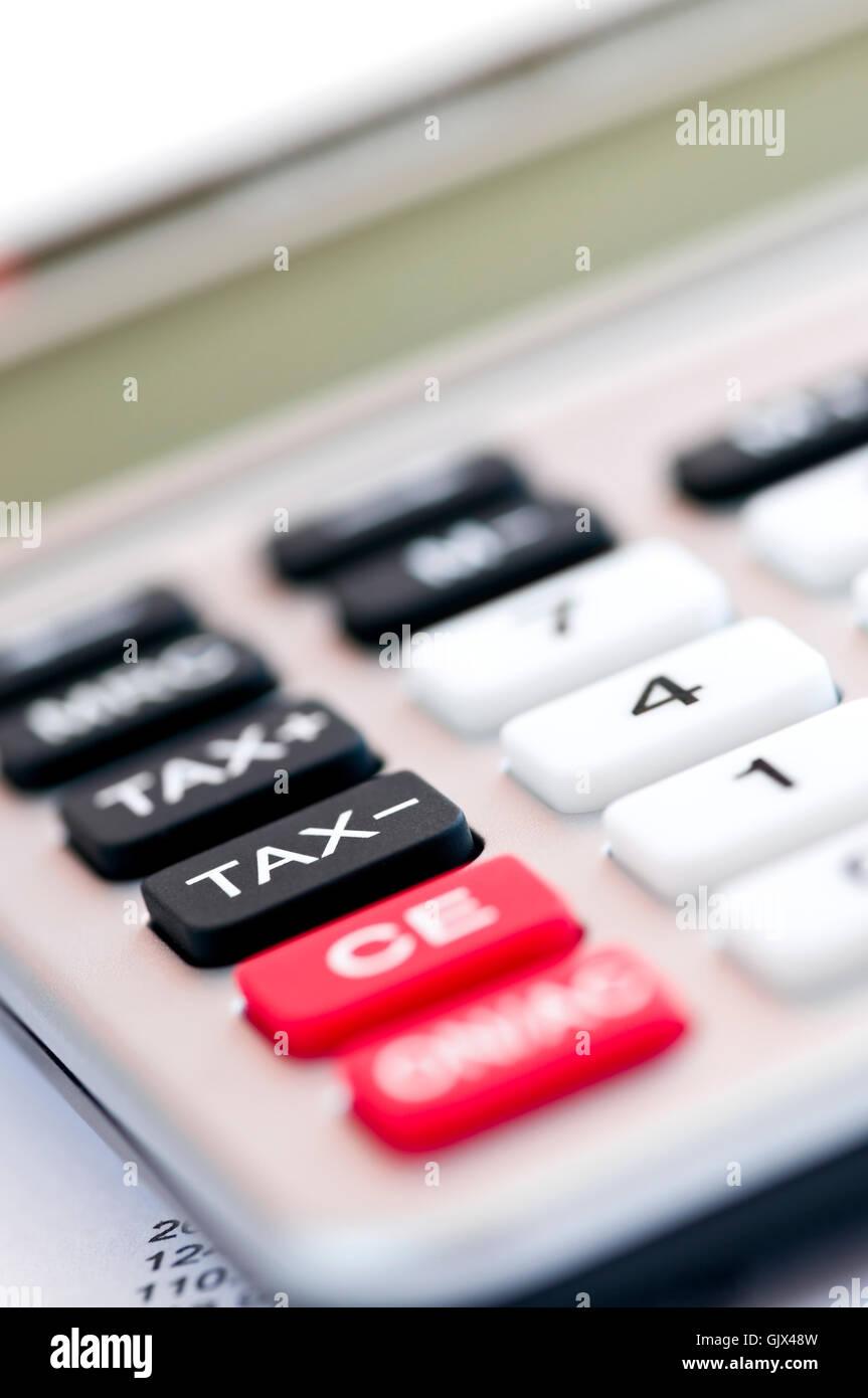calculator tax taxation - Stock Image