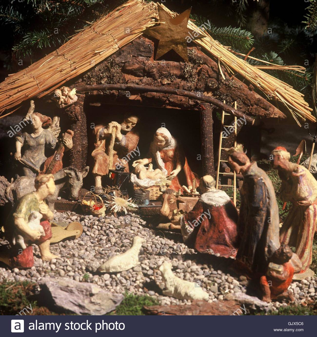 nativity scene with wooden figures Stock Photo