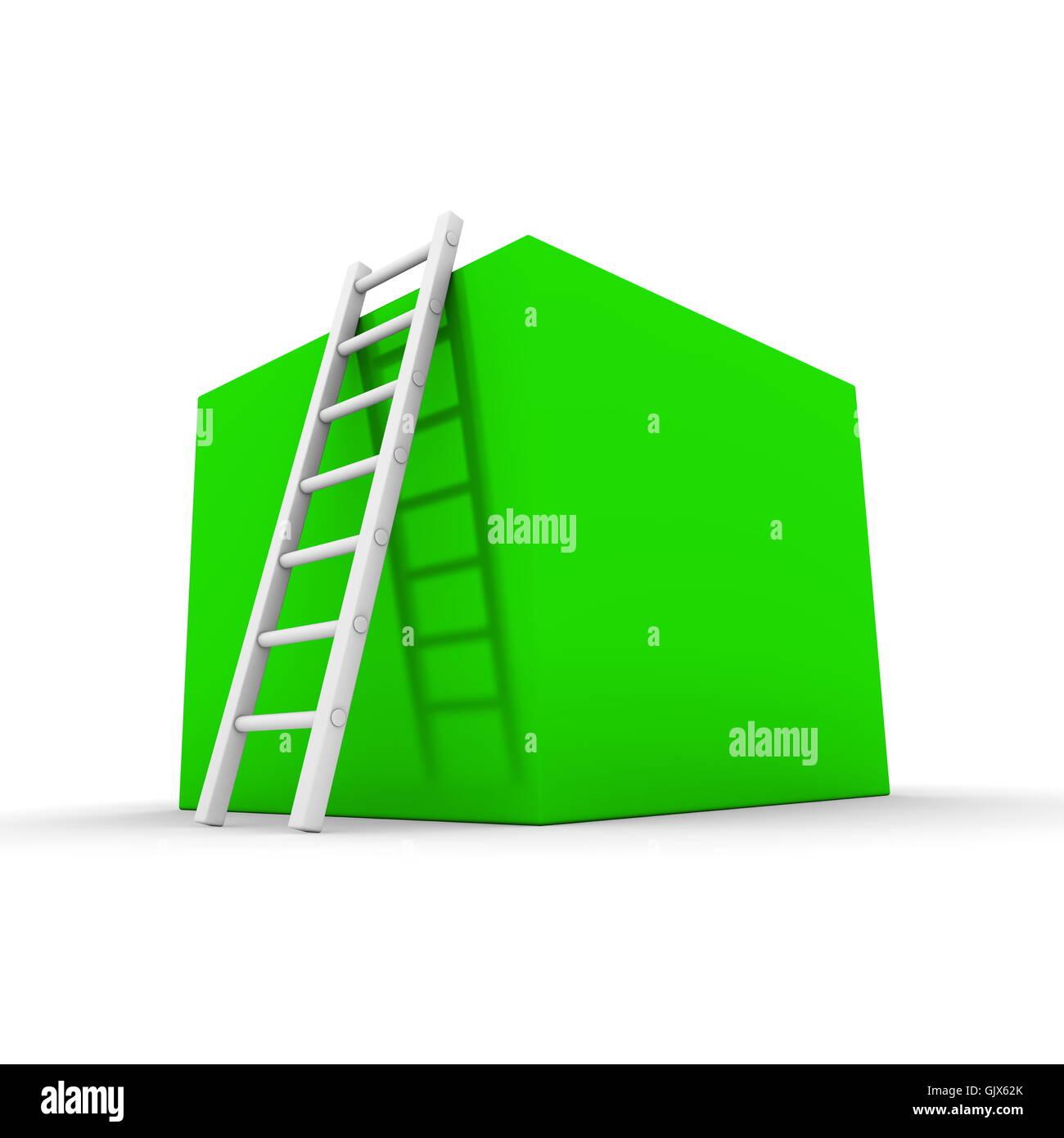 Climb up the Shiny Green Box - Stock Image