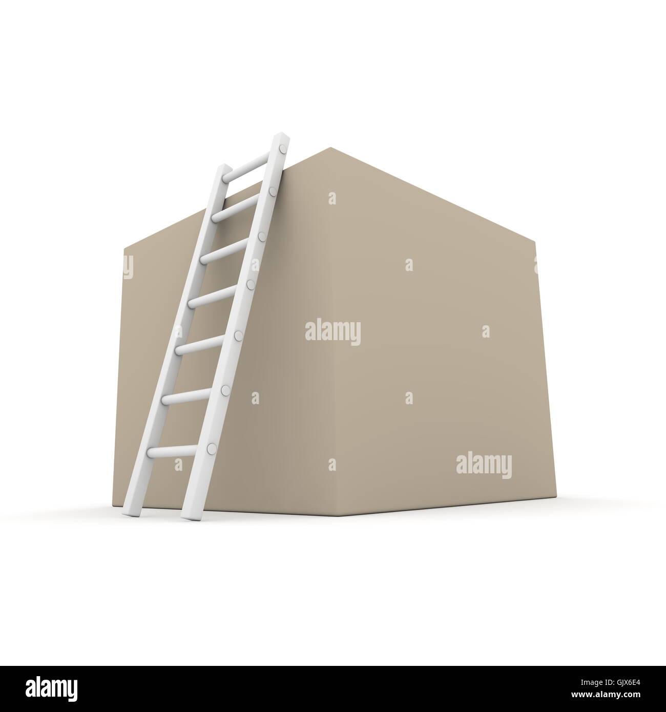 Climb up the Cardboard Box - Stock Image