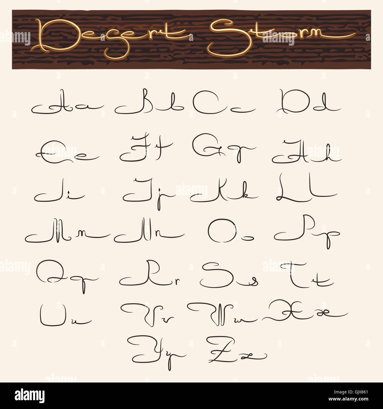 Handmade Latin alphabet in Arabic style. Uppercase and lowercase letters. - Stock Image