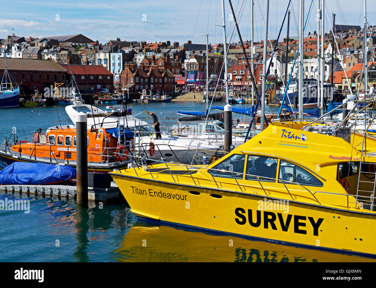 Titan Endeavour Survey boat, moored in the marina, Scarborough harbour, North Yorkshire, England UK - Stock Image