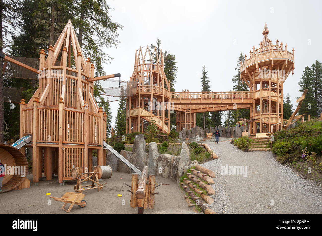 Playground Wooden Towers In Spruce Tree Castle At Rosenalm Park Near