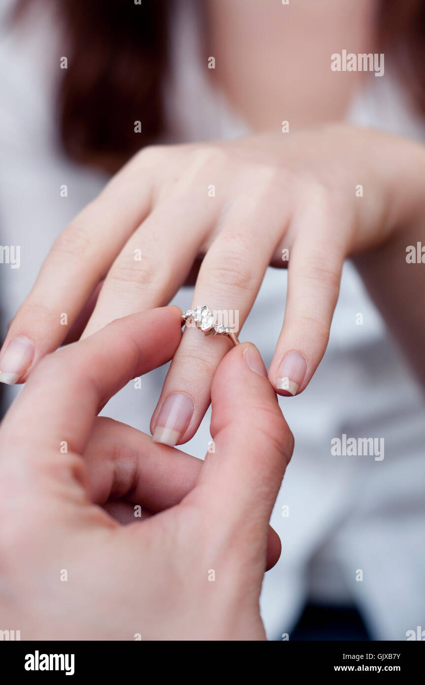Situation Inserting Engagement Ring Finger Stock Photos & Situation ...