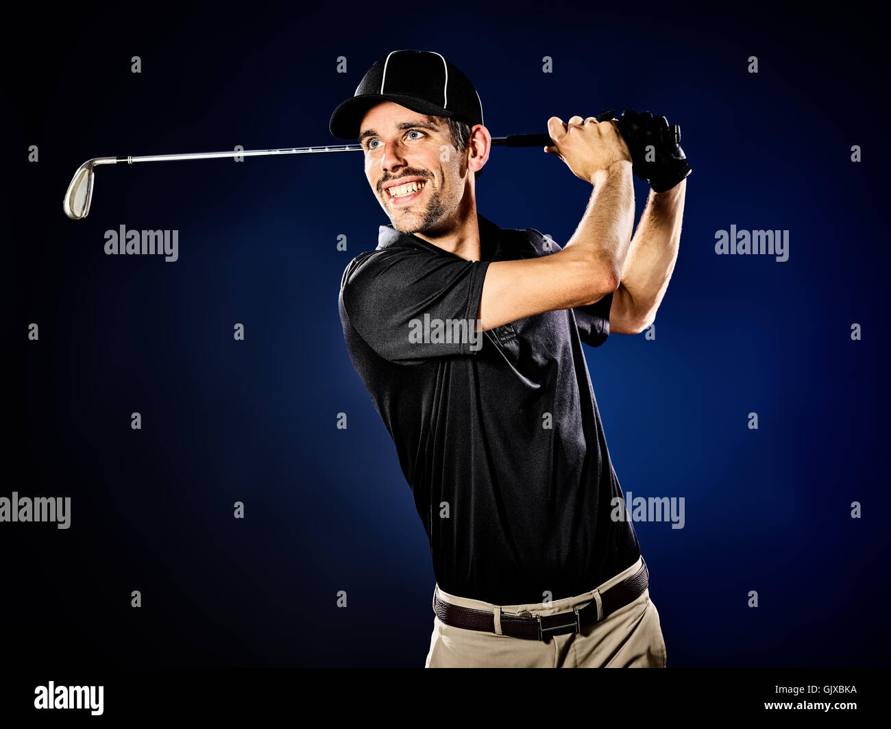 one caucasian  man golfer golfing isolated - Stock Image