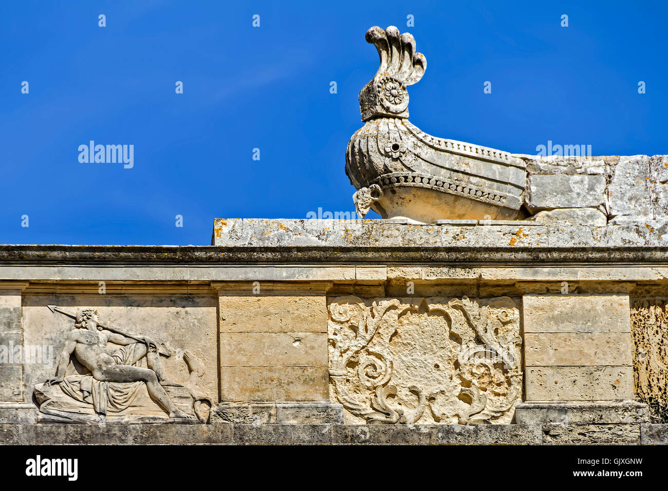 Wall Detail Of The Museum of Asian Art Corfu Greece - Stock Image