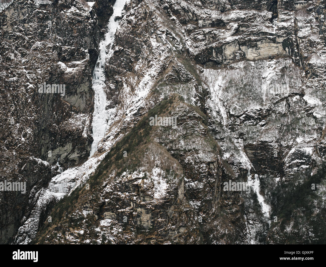Snow covered jagged mountain in Nepal's Everest Base Camp - Stock Image