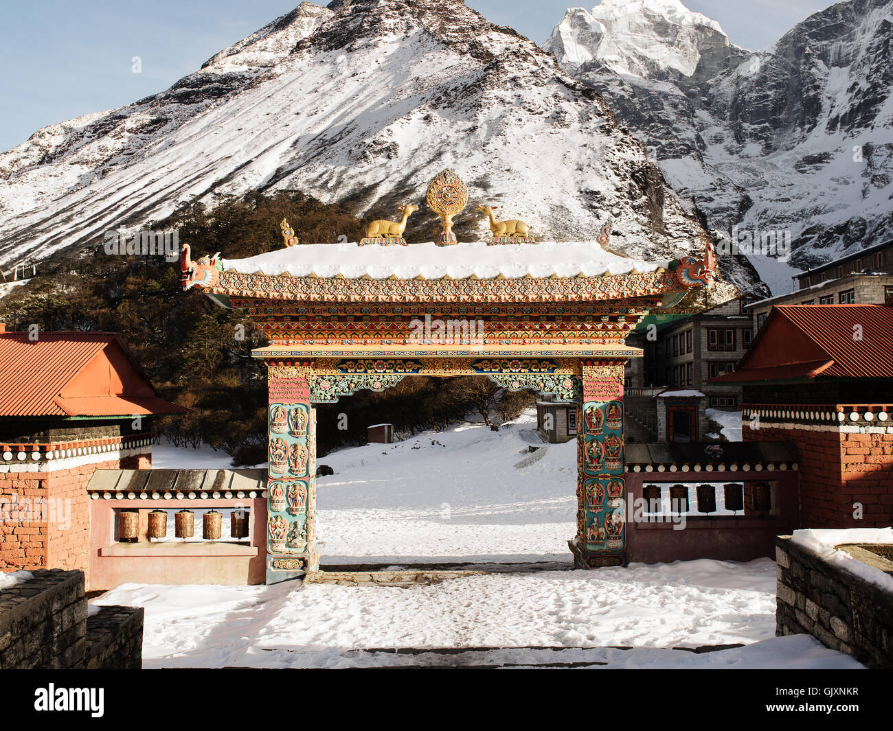 The gateway to Tengboche Monastery in Nepal's Everest Base Camp - Stock Image