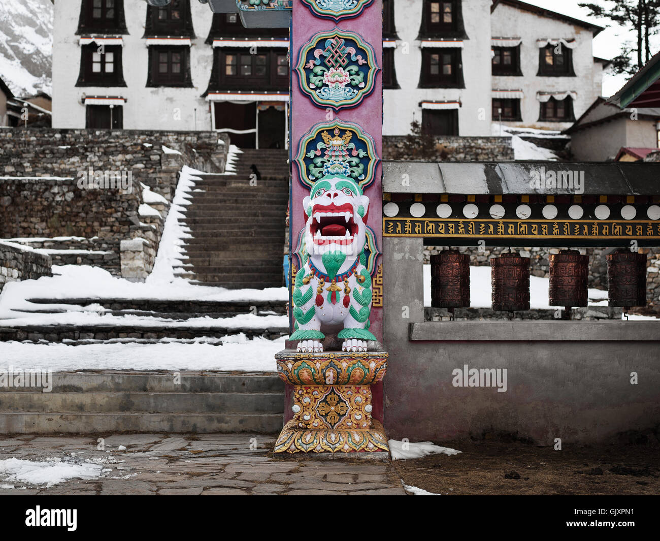 A shrine outside a monastery in Tengboche, Nepal - Stock Image
