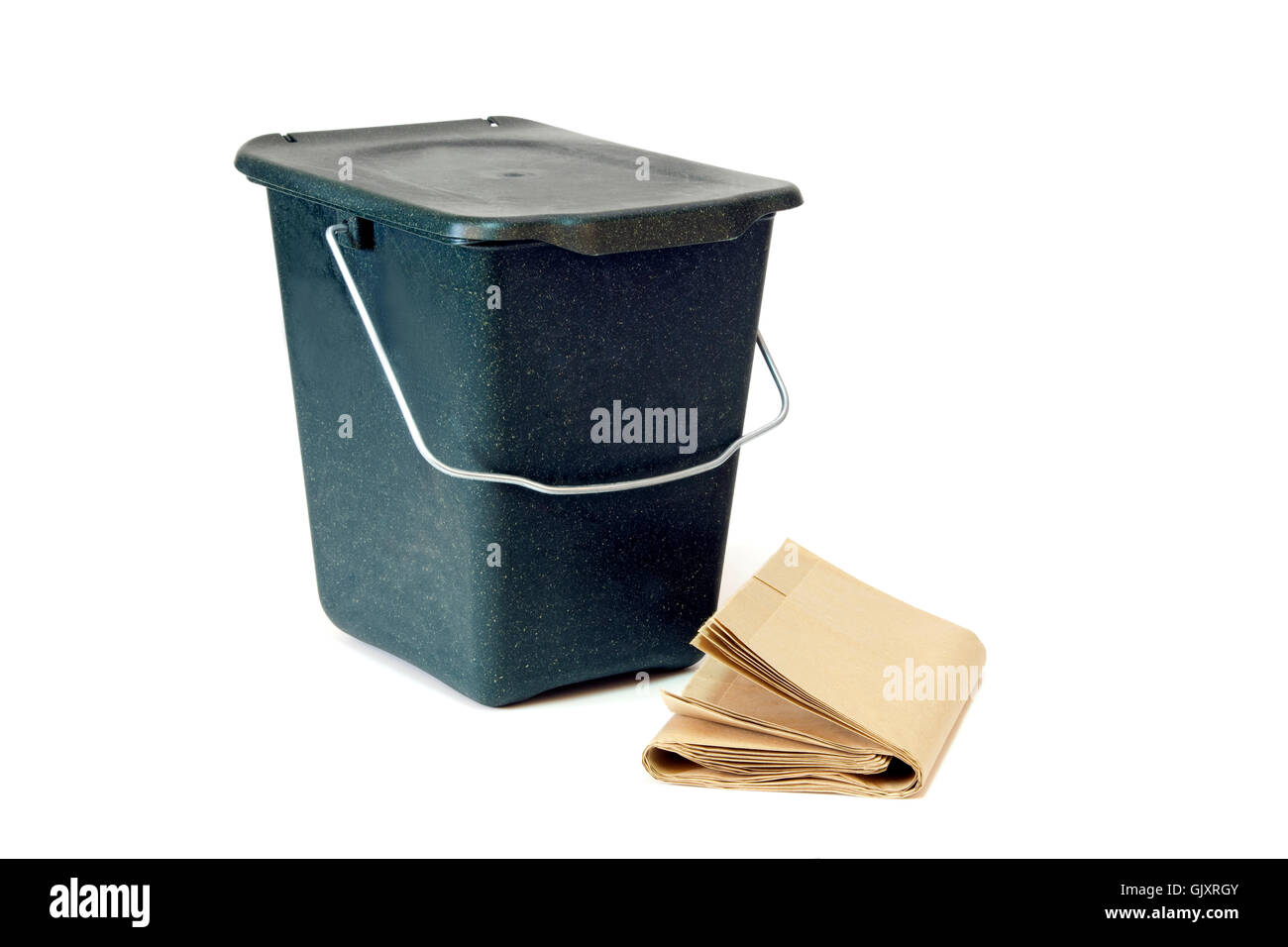 Compost trash can isolated on white background - Stock Image