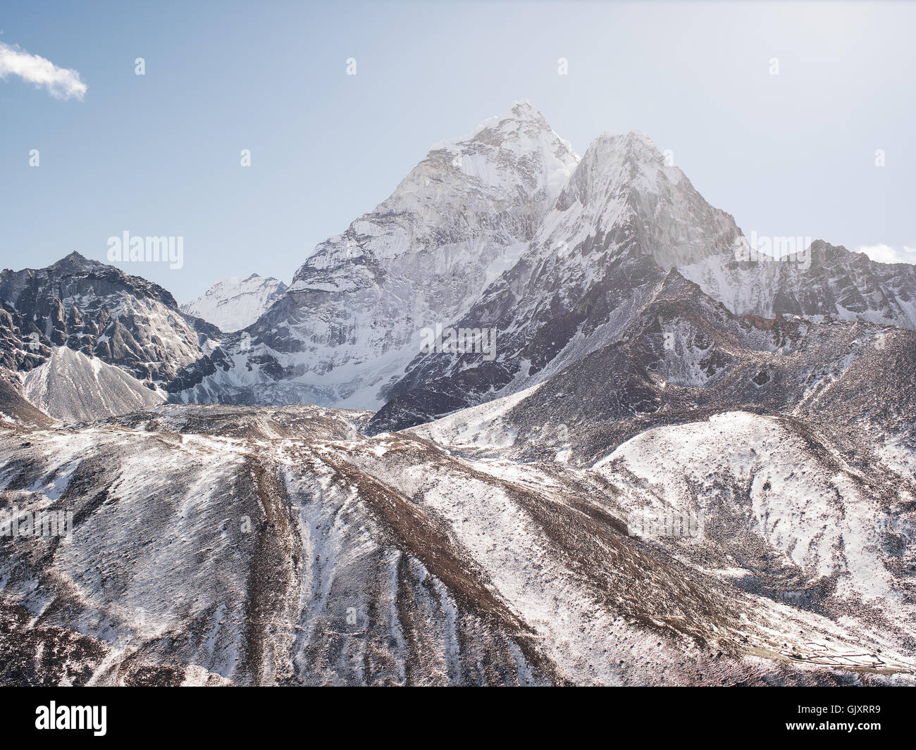 Snowy peak in Nepal's Himalayas in Everest Base Camp - Stock Image