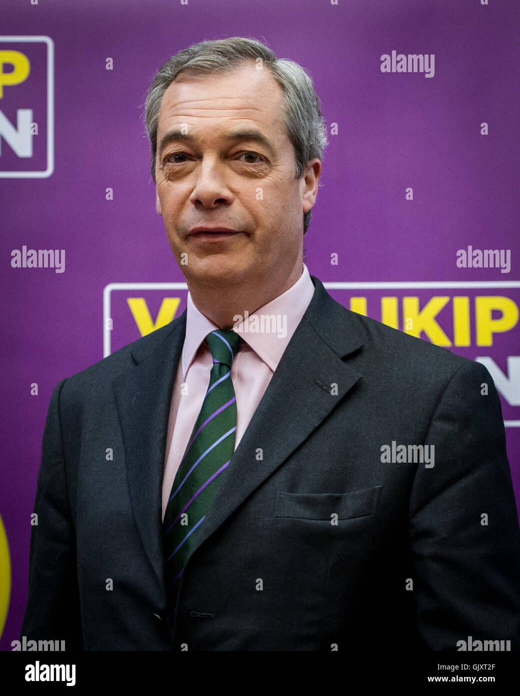 Nigel Farage and UKIP Mayoral Candidate, Peter Whittle at the launch of their London Manifesto.  Featuring: Nigel - Stock Image