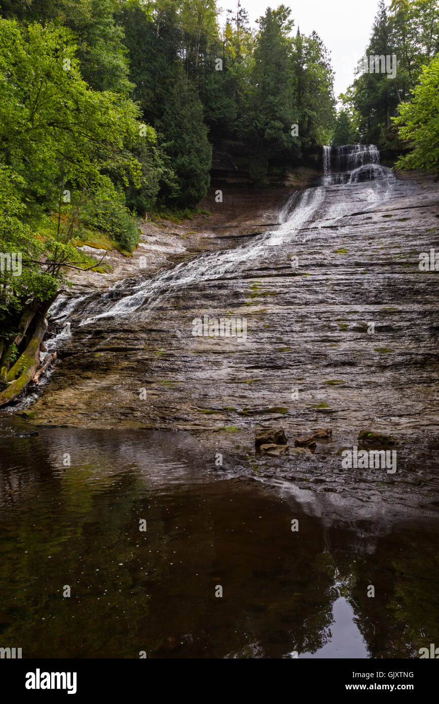 Sundell, Michigan - Laughing Whitefish Falls, which drops 100 feet over a limestone escarpment. - Stock Image