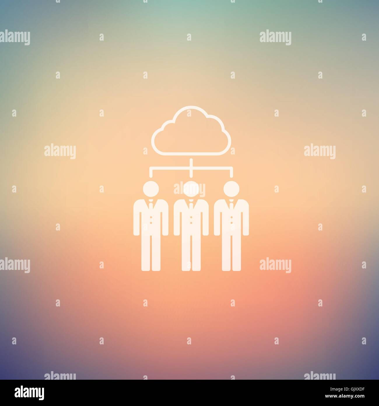 Three young man with cloud in flat style icon - Stock Vector