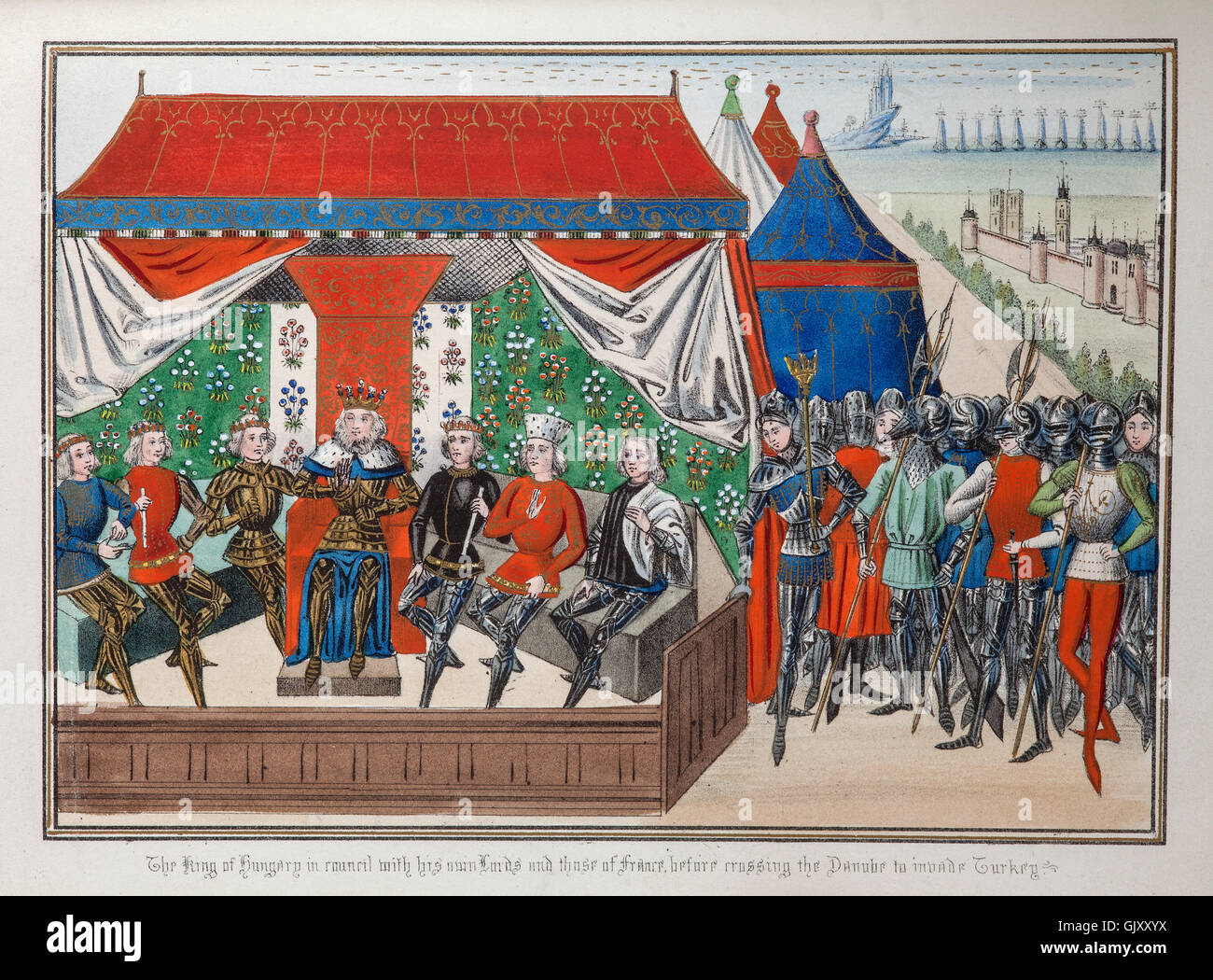 Sigismond, King of Hungary in council with French knights after perceived threats from Sultan Bajezet in 1396. - Stock Image
